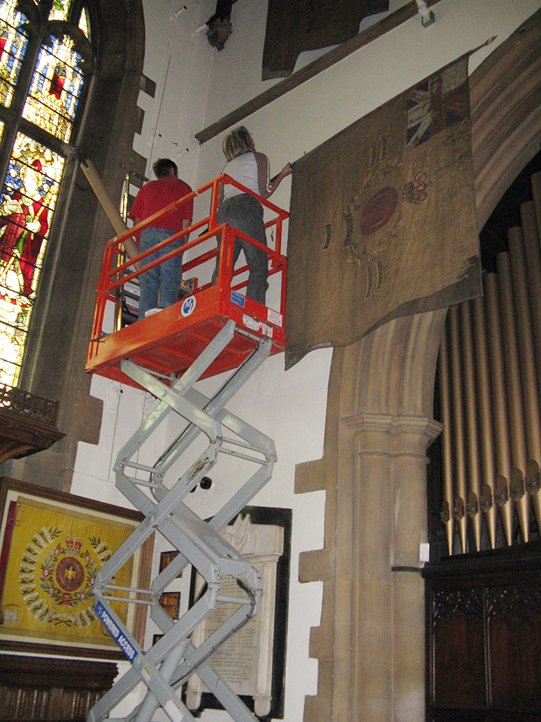 Using a cherry-picker for reinstatement of the Colours.