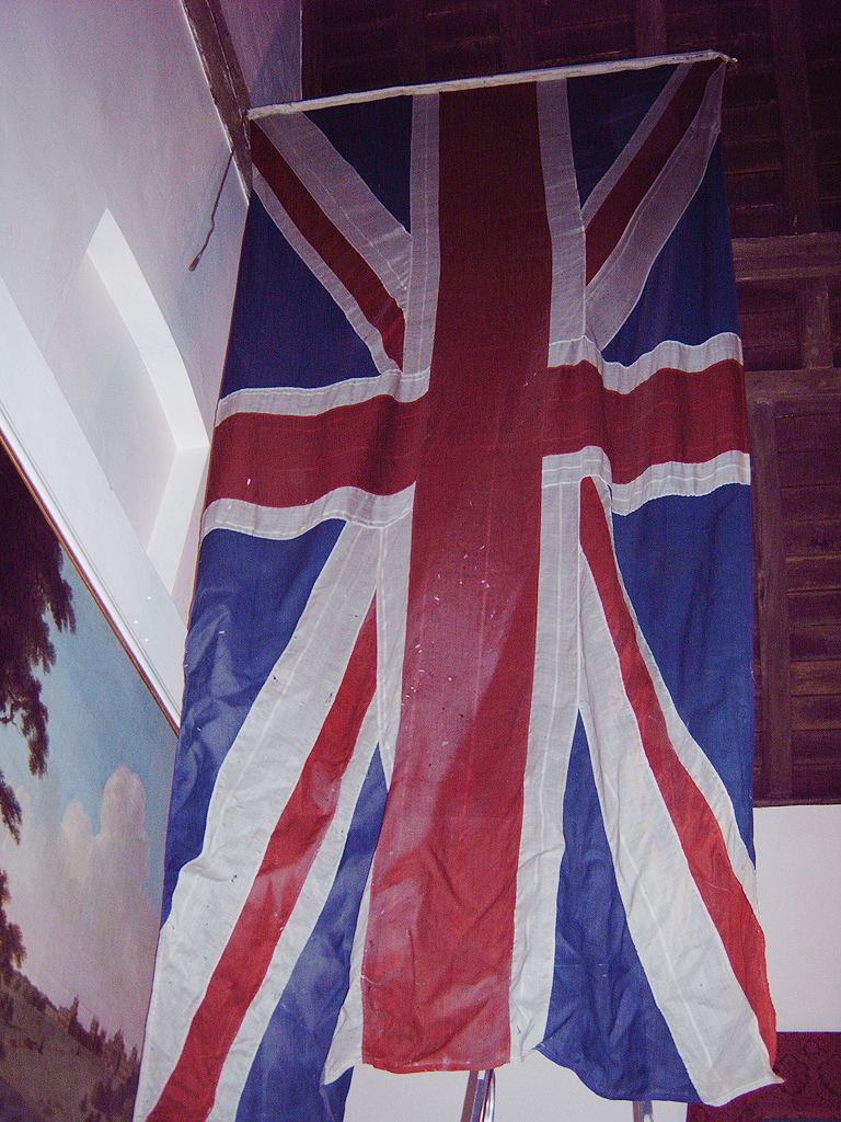 The Union Flag in Churchill's Study at Chartwell before  treatment.