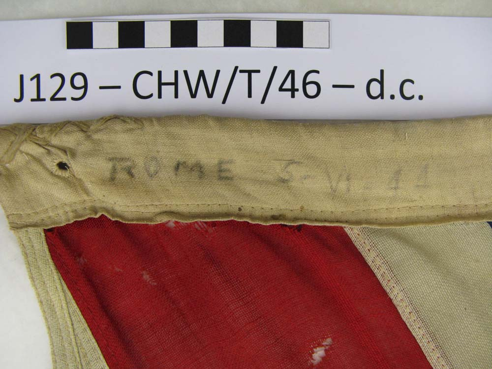 Detail of the Liberations date on the rope-sleeve.