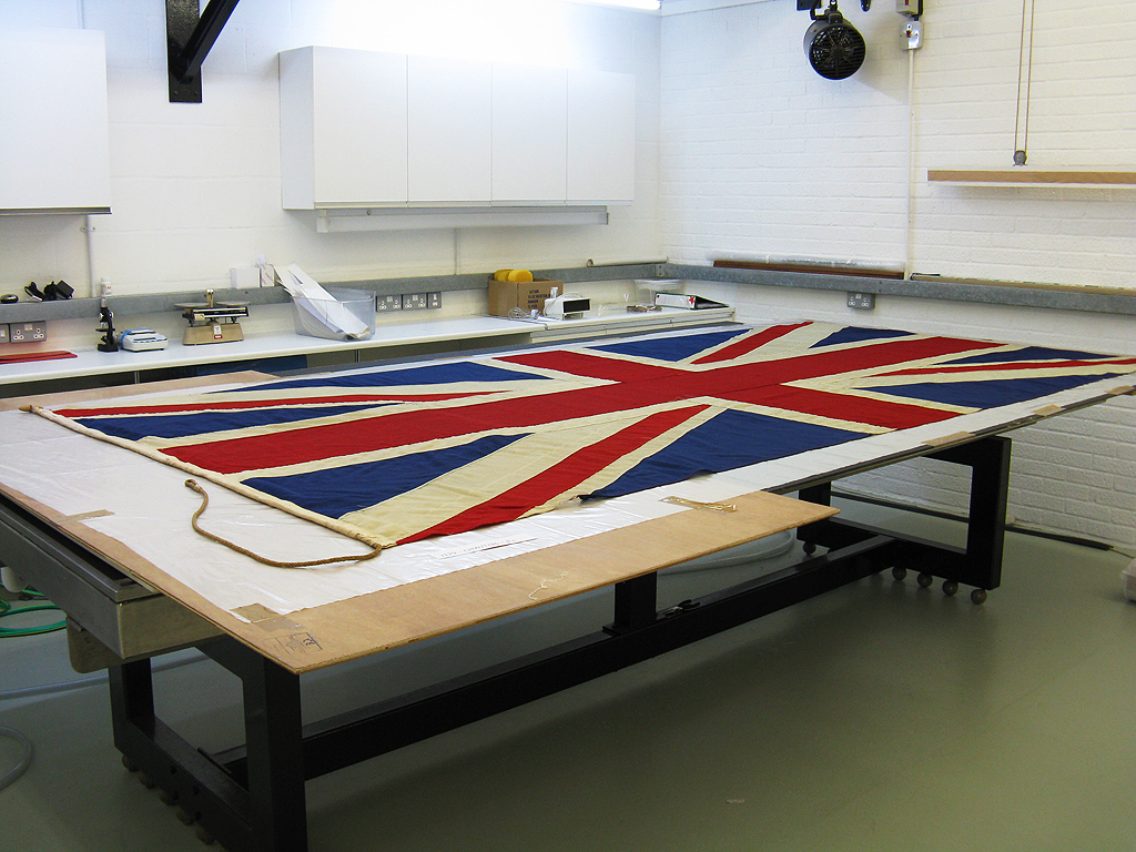 The Union flag after wet cleaning.