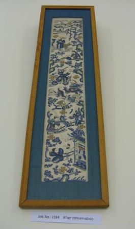 The Chinese embroidery after cleaning and reframing.