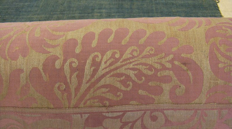 Detail of an unfaded section of the replacement damask.