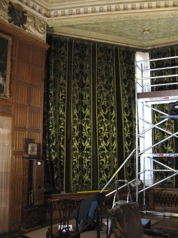 The left-hand curtain in-situ before conservation