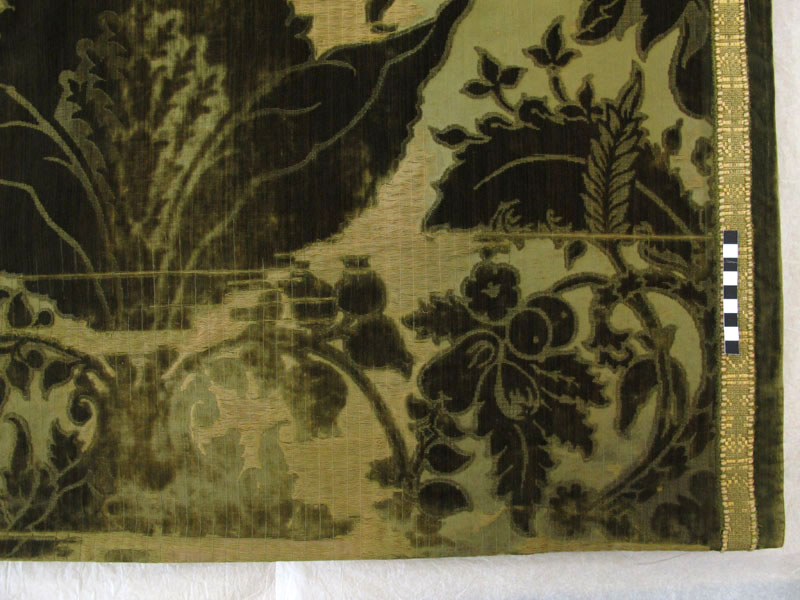 A detail of the curtain after conservation treatment