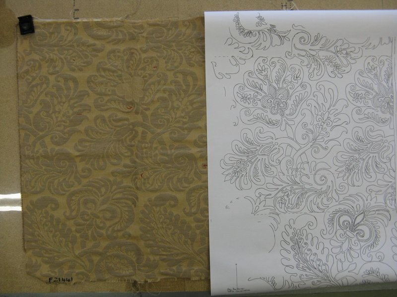 A tracing of the original and a trial weave.