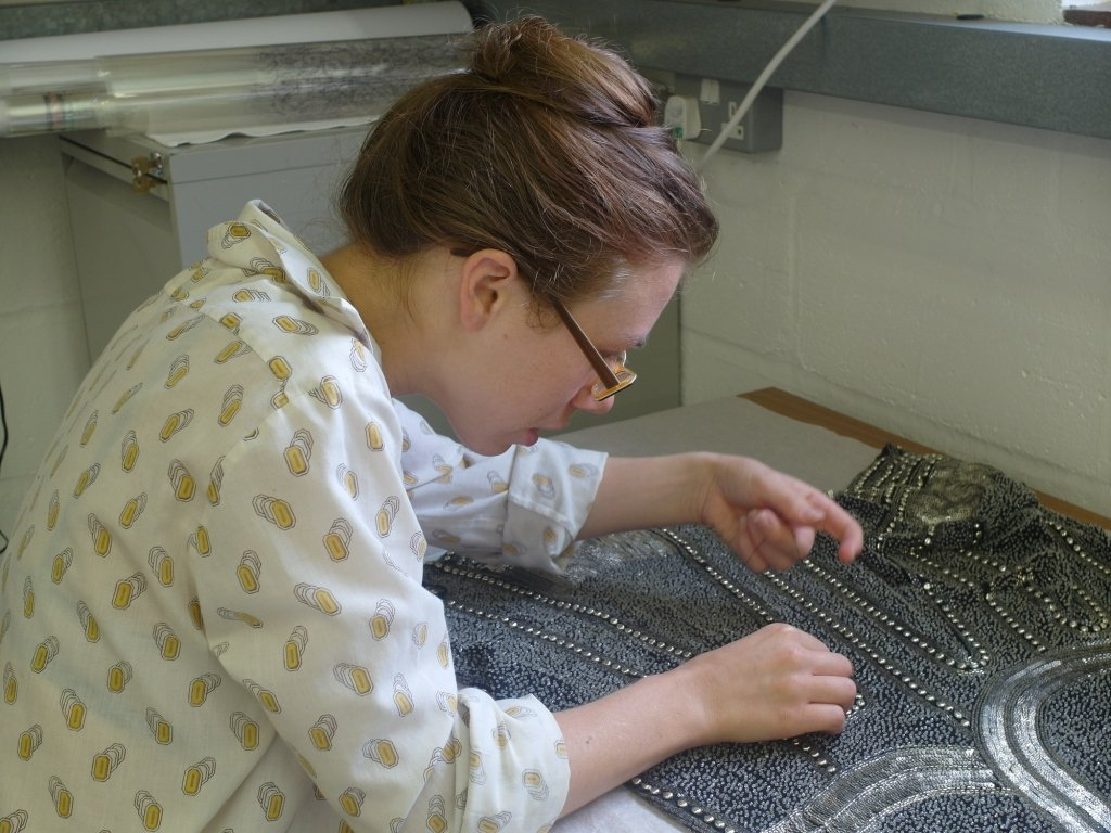 Jamie Stitching a 1920s beaded dress