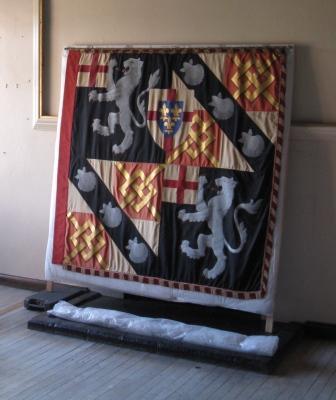 Churchill's Garter Banner prepared for transport.