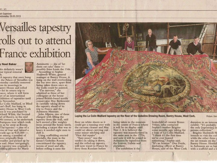 Tapestry from Bantry House in County Cork goes on show in Aubusson, where it was once made!