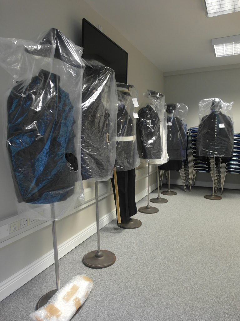 Mannequins after being mounted. All items were surface cleaned, mounted and covered to be ready for display. Several objects required further conservation.