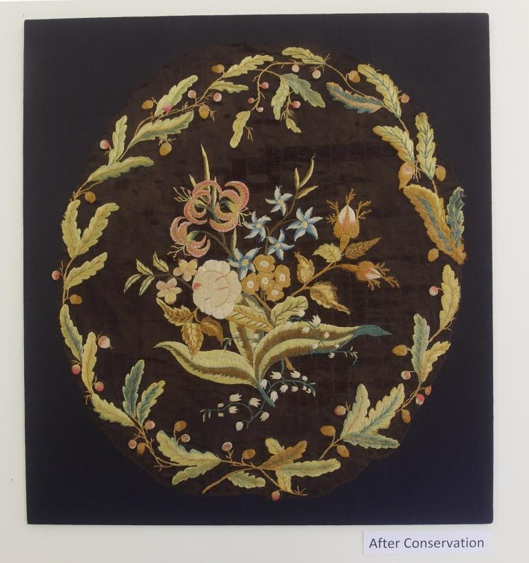 Mrs Delany embroidered floral panel after conservation