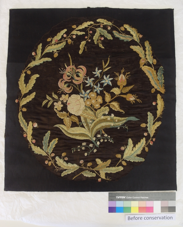 Mrs Delany embroidered floral panel ready to be conserved after being unframed