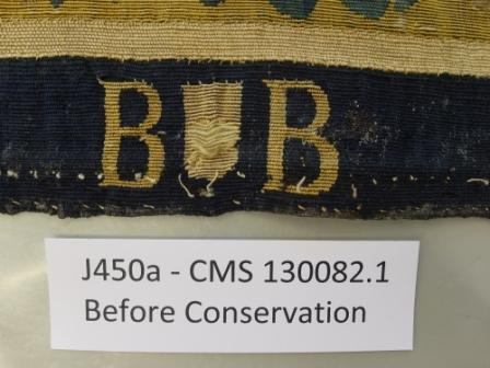 Weaver's mark on the lower edge before conservation; This shows the tapestry was woven in city of Brussels